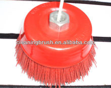 Cup polishing brush with nylon wire