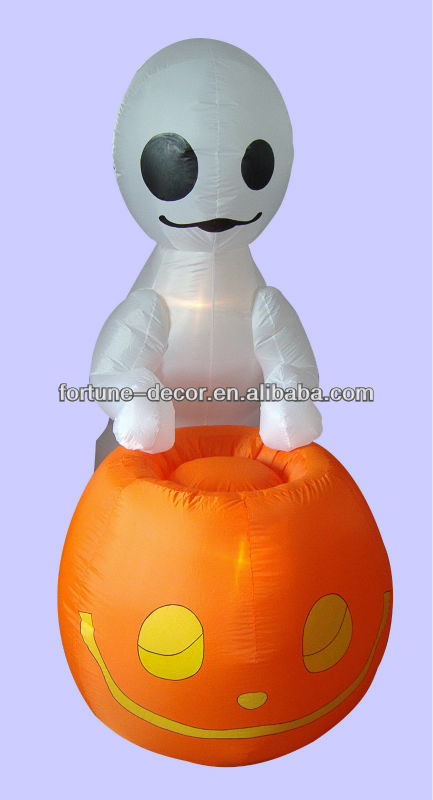 6ft inflatable pumpkin and white ghost halloween decoration