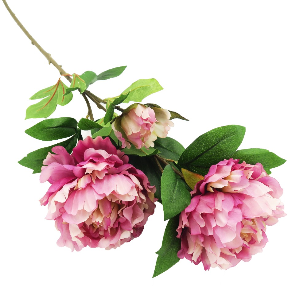 25 Artificial Single Peony Silk Flower Stem For Wedding Decoration