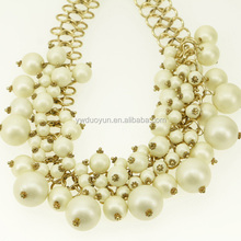 Designer Chunky Pearl Necklace k-gold Link Chain Choker Statement Costume Jewelry Bridesmaid Accessories