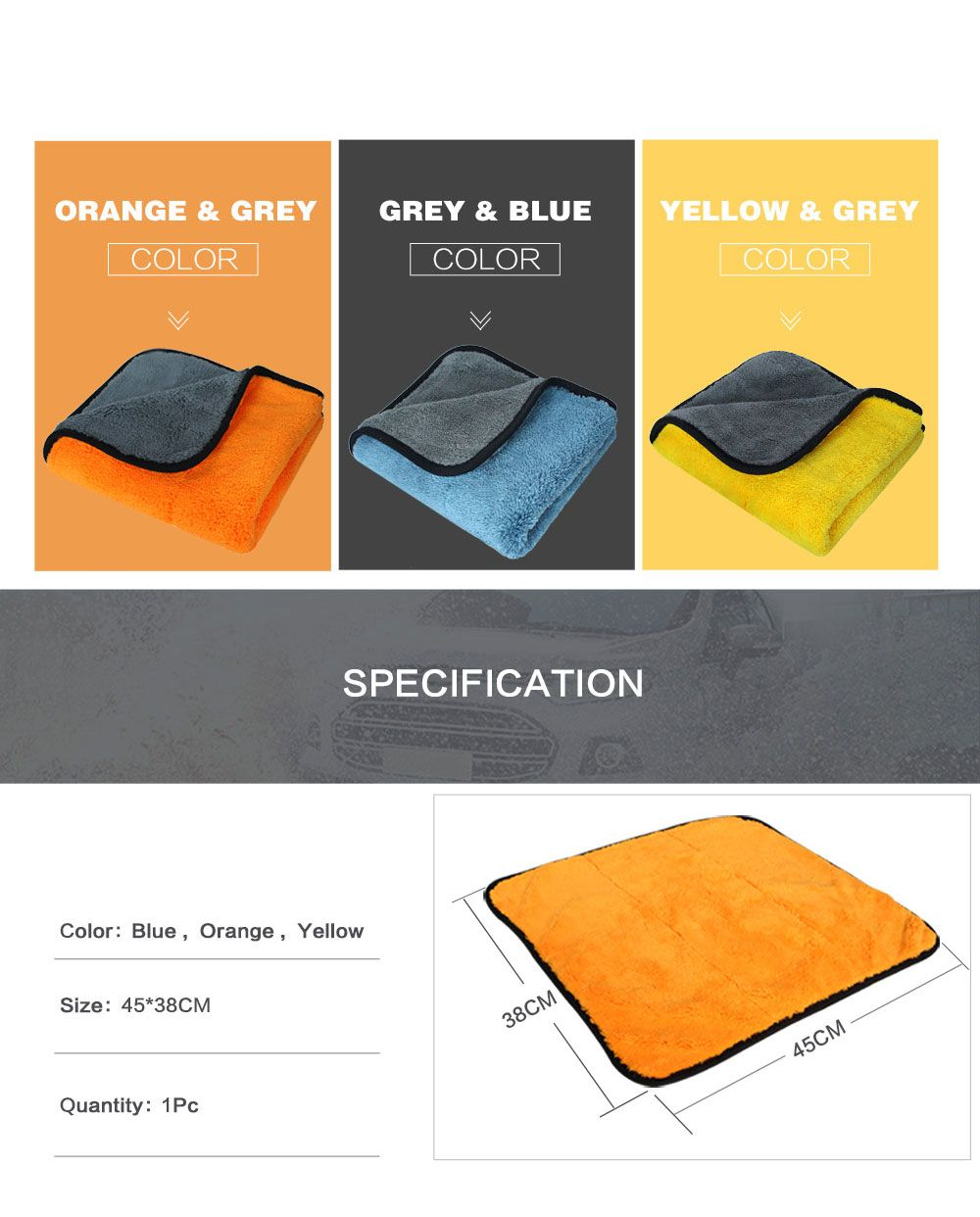 Auto Care 1pc 800gsm 45cmx38cm Super Thick Plush Microfiber Car Cleaning Cloth Microfibre Wax Polishing Detailing Towel