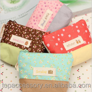 wholesale cheap canvas coin purse with cute flower printd, promotional gift for children