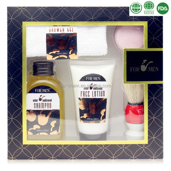 Man's Bath Gift Set with Shower Gel Face Lotion Towel Bath Fizzer Brush in Window Paper Box
