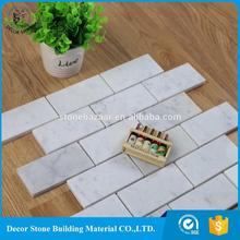 Low MOQ Kitchen Backsplash Brick Mosaic white marble