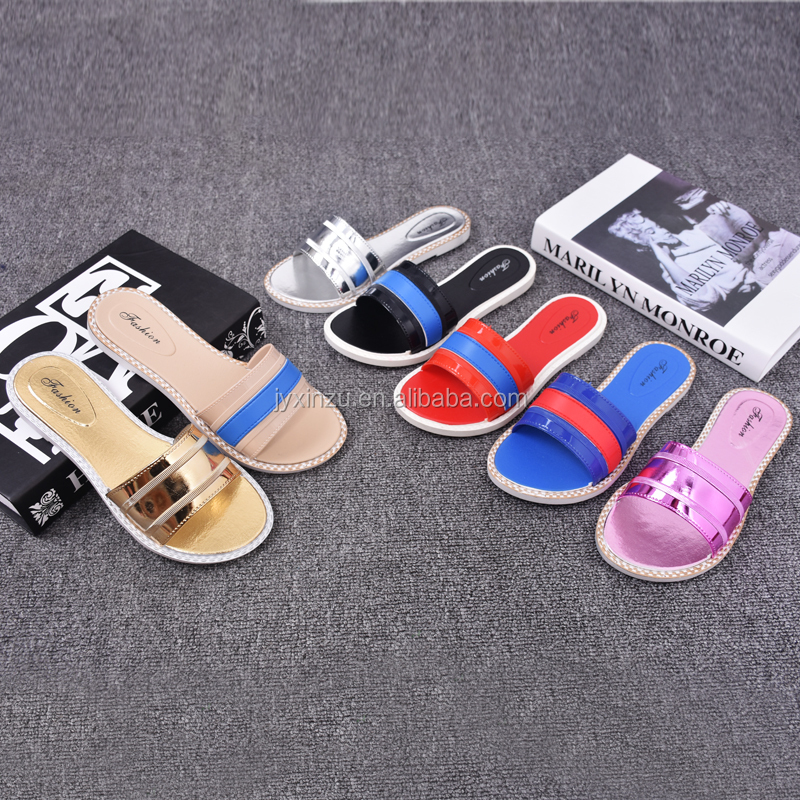 Summer Home Shoes Indoor PVC Slipper Ladies Flat Slipper