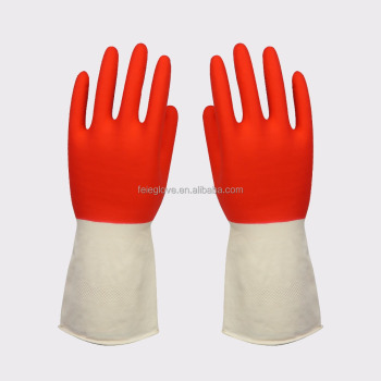 Two-tone Color Red and Yellow Fancy Cheap Latex Gloves for Housework