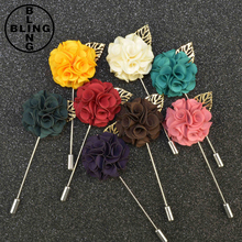 >>>New Fashion Men Brooch Flower Lapel Pin Suit Boutonniere 9 Colors Fabric Gold Leaf Flower Brooches For Wedding/