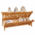 Foldable Bamboo dishes plate rack Collapsible Compact Cups dish drying rack dish drainer
