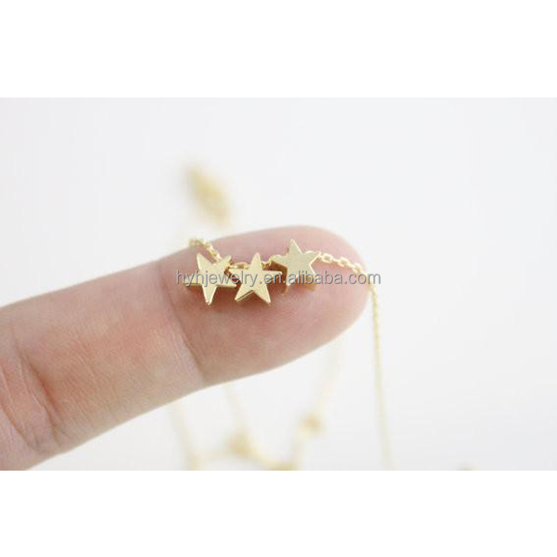 Online Shop China Small Three Stars Shaped Pendant Trendy Italian Chain Gold Colored Silver Jewelry