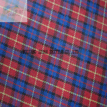 Polyester red and blue checked fabric for Suitcase Coated PVC