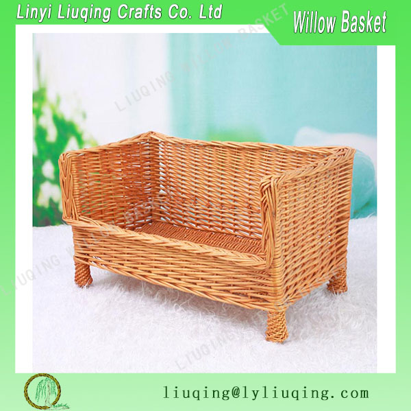 Honey Luxury Large Wicker Dog Bed Basket Settee Wicker Dog/cat Basket Sofa on Legs Large Raised Sleeping Bed Couch Woven Basket