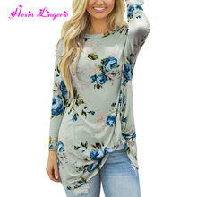 Top Selling green floral long sleeves loose ladies blouse for middle aged women