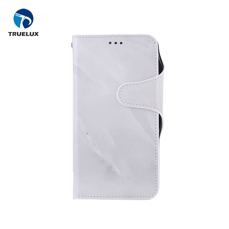 Pure White Marble Case IMD Craft Leather Phone Case For iPhone X