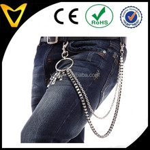 Custom design stainless steel decorative pants chain multi-row jeans chain