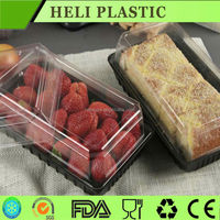 large capacity PP disposable display plastic food fruit cake packaging tray/box