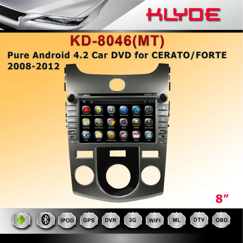 car dvd multimedia navigation system for forte (mt)with GPS Bluetooth Steering Wheel Control