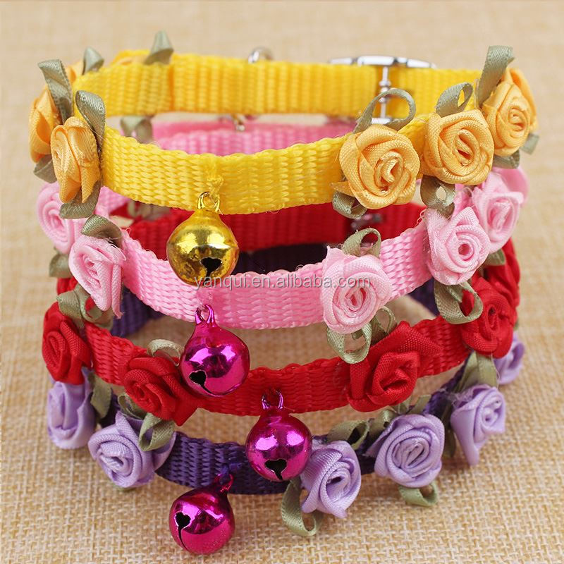 Fashion Nylon Rose Flowers Pet Dog Collars With Bell Adjustable Buckle Pet Puppy Cat Collar Supplies