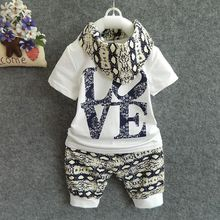new cute children newborn baby clothing with small scarf cheap baby 3 piece suit