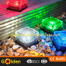 Hot Selling colorful Led Solar Ice Brick Light for garden patio