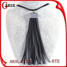 Tassel Plain New and Cheap Long Black PU female leather cord necklace