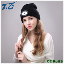 Winter acrylic black beanie led hat with light