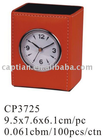 Travel Desk Leather Clock with Pen Holder & Leather Table Clock