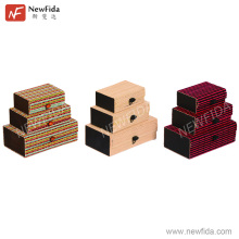 NewFida Eco-friendly Elegant Set of 3 Rectangular Bamboo Wood Jewelry Display Box