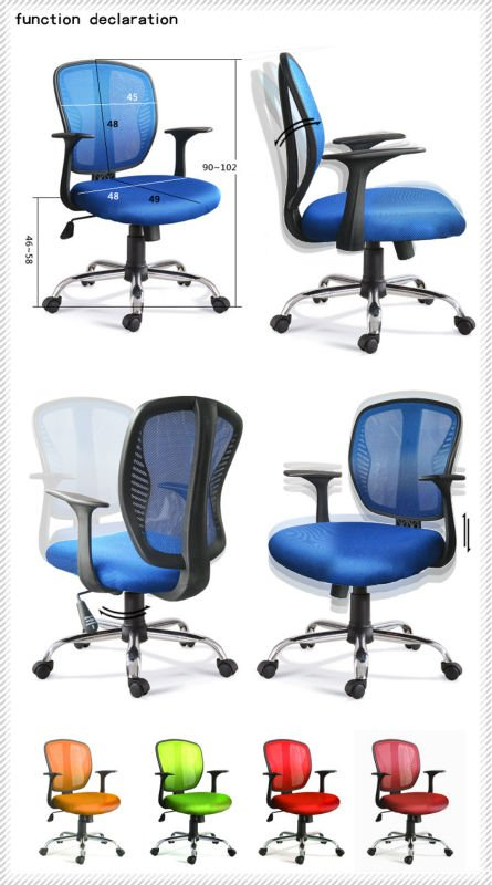 D12# Mesh office plastic chairs with metal legs