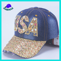 Ladies Summer twill cotton crystal sports hat us baseball cap with rhinestones