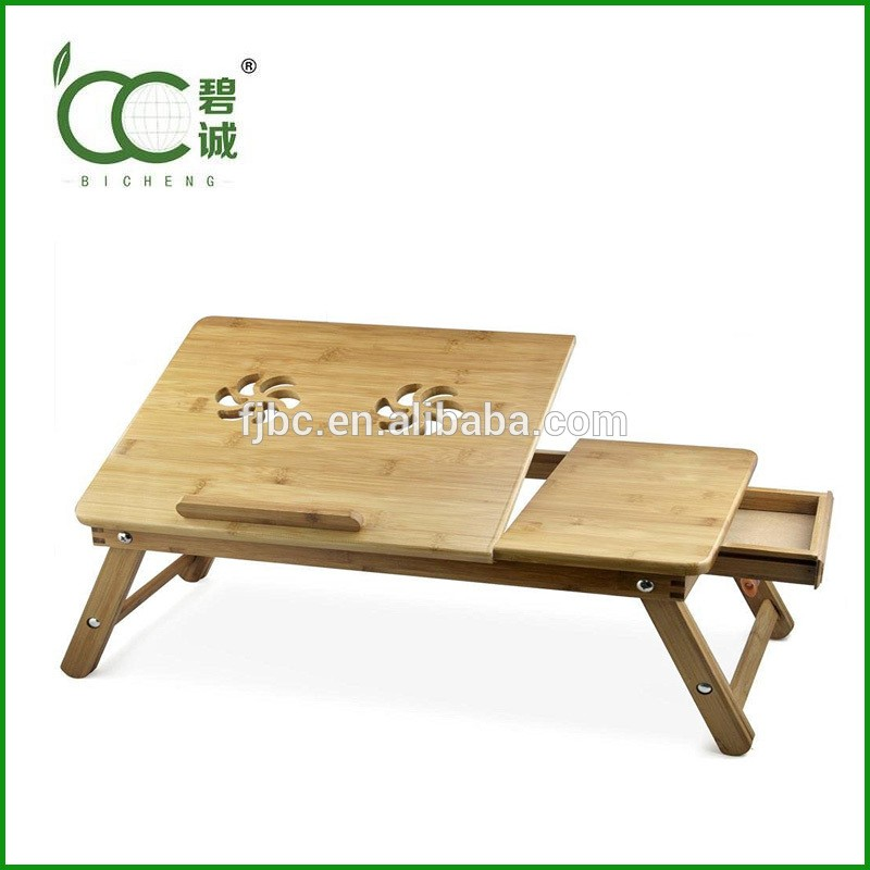Factory Direct Sale Bamboo Laptop Table Stand for Bed with Adjustable Legs and Side