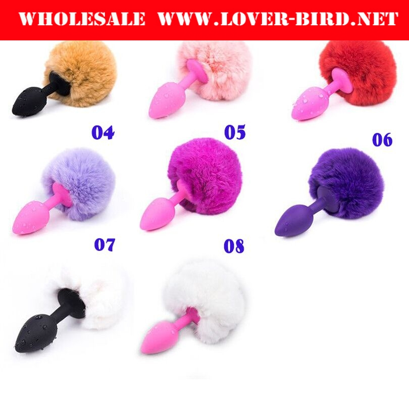 Small Size Silicone Rabbit Tail Anal Plug Bunny 8 Color Butt Plug Silicone Booty Beads Anal Dildo Anal Sex Toys Sex Products
