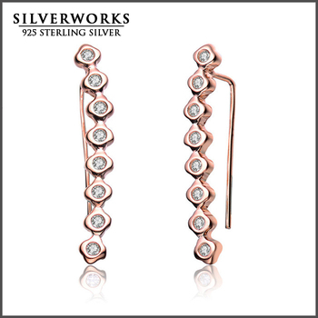 2016 Wholesale New Product Silver 925 Shooting Star Stick Earrings With CZ For Women