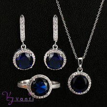 latest style platinum plated clear dark bule crystal beautiful jewelry set