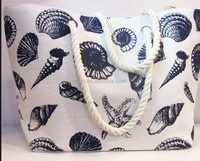 High quality lovely sea shell custom printed cotton blank tote bag