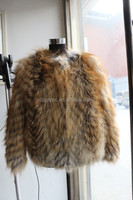Women Fashion Winter Real Natural Raccoon Fur Knitted Fur Coat