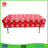 Snowflake Printed in Red PE Film Plastic Table cover tablecloths