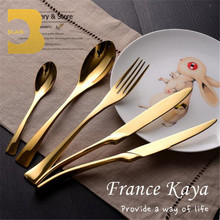 Wedding restaurant royal gold plated flatware set, elegant luxury 72pcs 18/10 stainless stee rose gold cutlery set