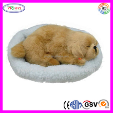 D636 Brown Vivid Dog Stuffed Animal Sleeping Breathing Toy Dog with Mat