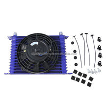 "Universal 15 Row AN -10 Alum Engine Transmission Oil Cooler & 7"" Fan Kit Blue"