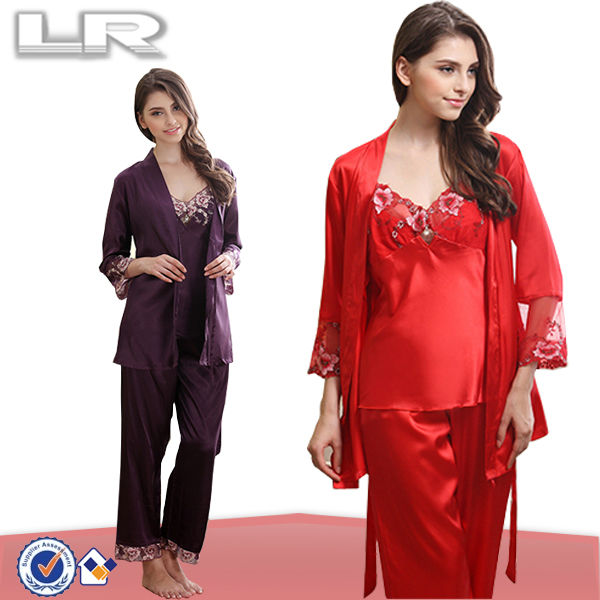 Customize Women Summer 100% Satin 3 piece Silk pajamas Set for girls red Silk Pajama