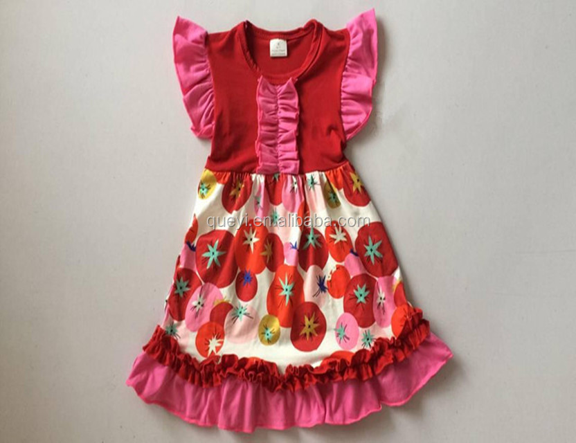 Girl Party Wear Western Dress Tomato Fruit Pattern Costumes Boutique Pearl Dress