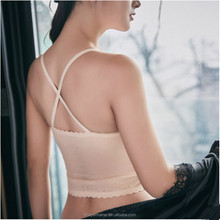 wholesale Sexy lace skin colored leisure sports bra with pad
