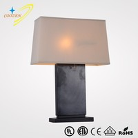 GZ60018-1T black wooden table lamp with fabric shade