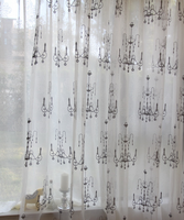 retro lamp white embroidered sheer curtain and drapes modern ready voile curtain turkish cafe window curtain fabric online