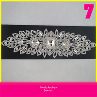 Hot Sale Crystal Rhinestone Applique Sew on Wedding Dress 6x21.5cm