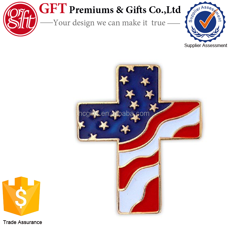 Custom 1 Inch Gold Plated Coloring Soft Enamel American Flag Cross Pin