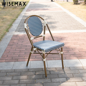 Outdoor Rattan garden furniture bamboo look woven rattan french bistro chairs