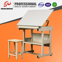 Height adjustable standard wooden engineering drawing table