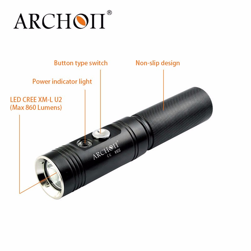 Top sale 860 Lumens Archon V10S <strong>Mini</strong> Portable Waterproof Led Diving Flashlight Scuba Diving Equipment Light