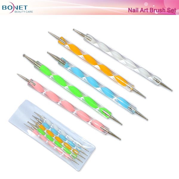 BNT0034 2 Way Marbleizing Dotting Pen Set for Nail Art Manicure Pedicure